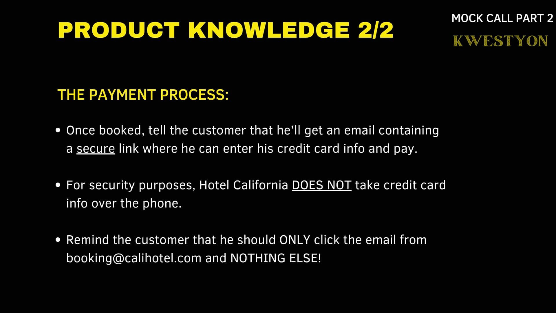 Mock Call Sample Product Knowledge 2